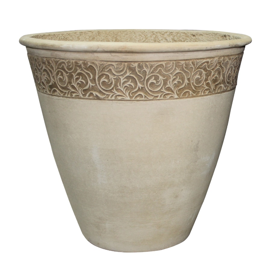 Garden Treasures 22-in x 20.08-in Sand Concrete Tapered Planter