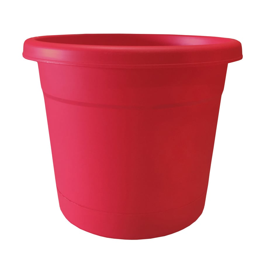 13.63-in x 11.4-in Red Pop Plastic Self Watering Round Planter