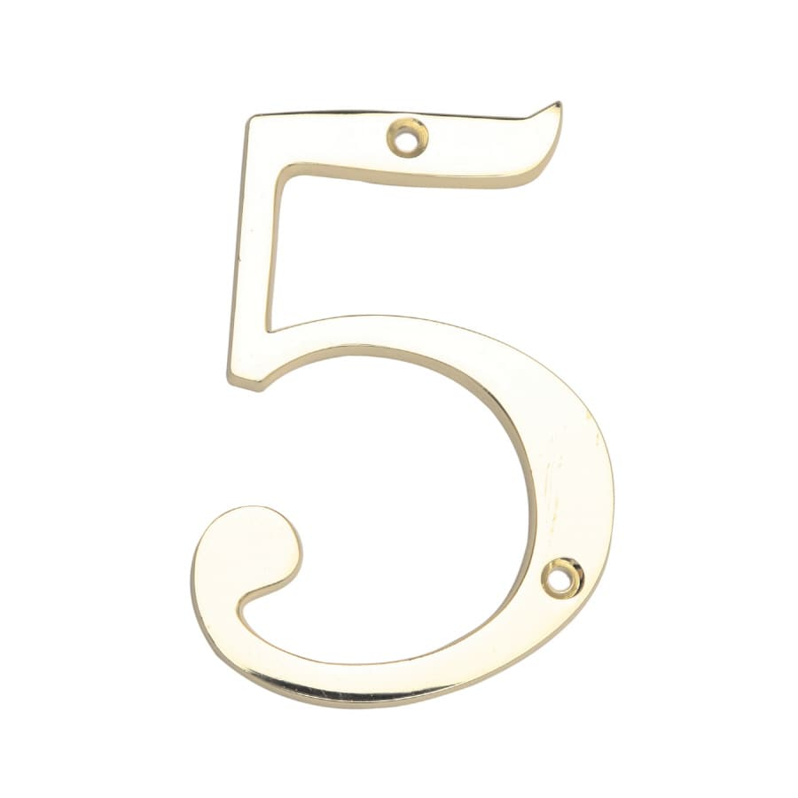 Gatehouse 3.98-in Polished Brass House Number 5