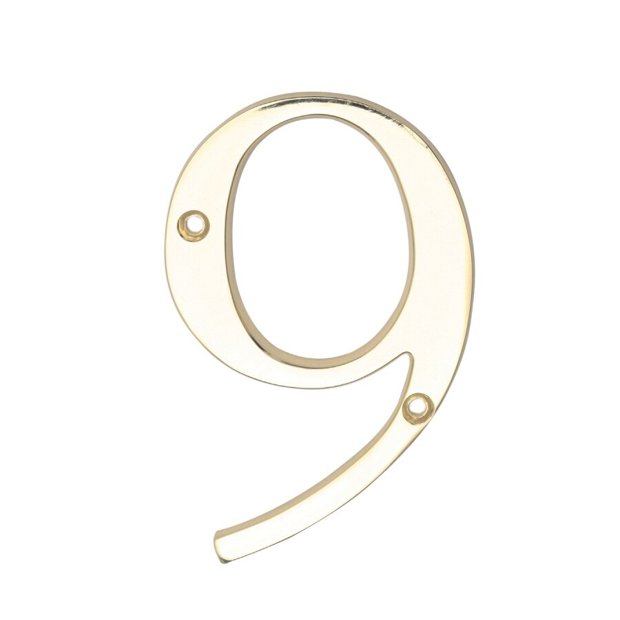 Gatehouse 4-in Polished Brass House Number 9