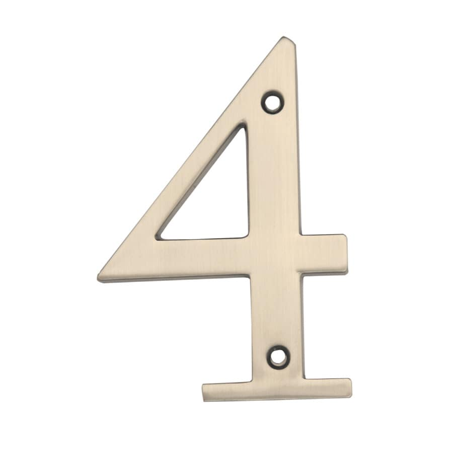 Gatehouse 3.86-in Satin Nickel House Number 4