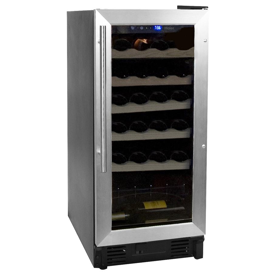 Haier 26-Bottle Brushed Aluminum Trim with Black Body Wine Chiller