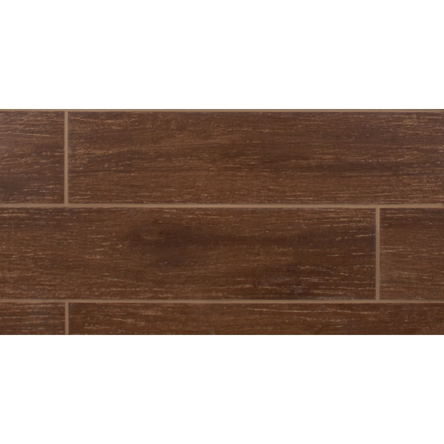 Bedrosians 11-Pack Prestige Walnut Glazed Porcelain Indoor/Outdoor Floor Tile (Common: 6-in x 24-in; Actual: 5.88-in x 23.75-in)