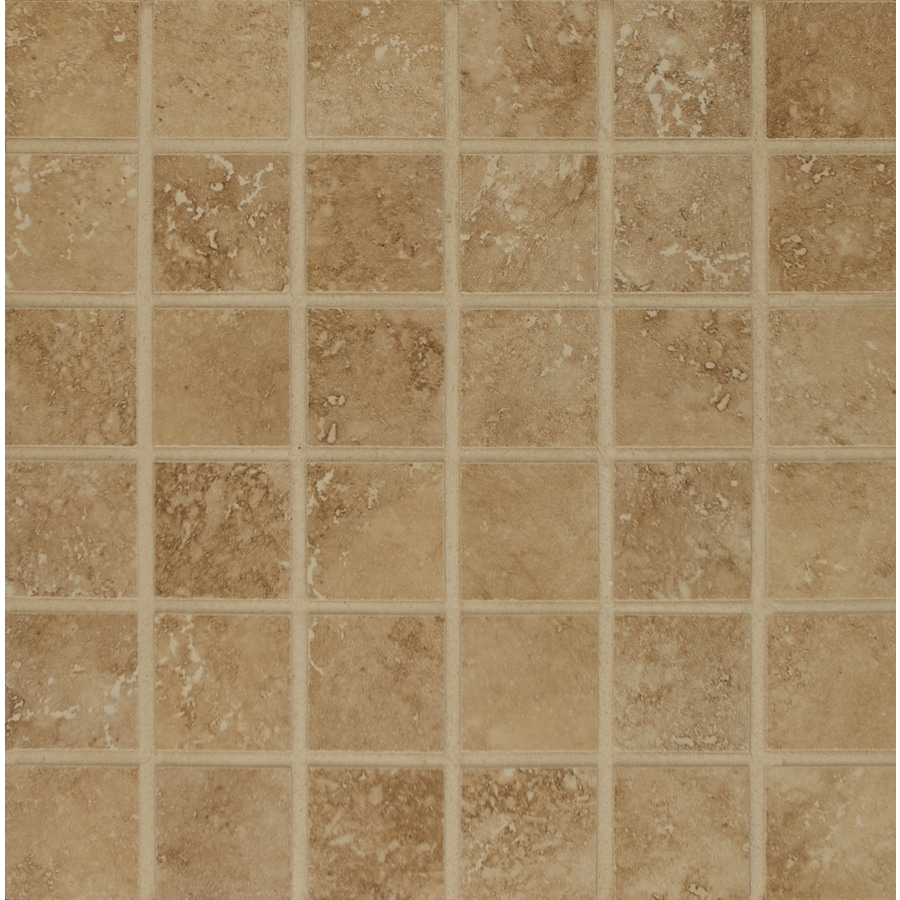 Bedrosians Roma Camel Uniform Squares Mosaic Porcelain Floor Tile (Common: 13-in x 13-in; Actual: 12.875-in x 12.875-in)
