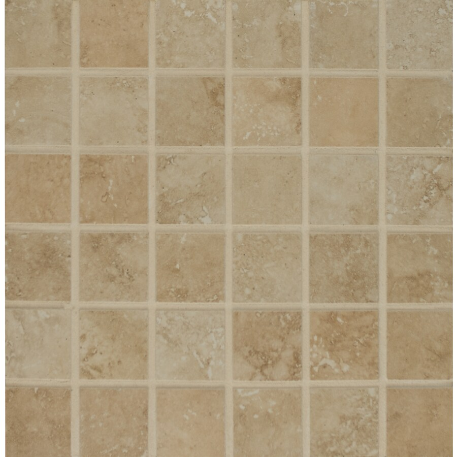 Bedrosians Roma Beige Uniform Squares Mosaic Porcelain Floor Tile (Common: 13-in x 13-in; Actual: 13-in x 13-in)
