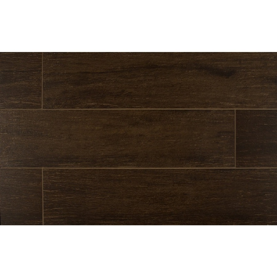 Bedrosians Prestige-Z 12-Pack Walnut Porcelain Floor Tile (Common: 6-in x 24-in; Actual: 5.88-in x 23.75-in)