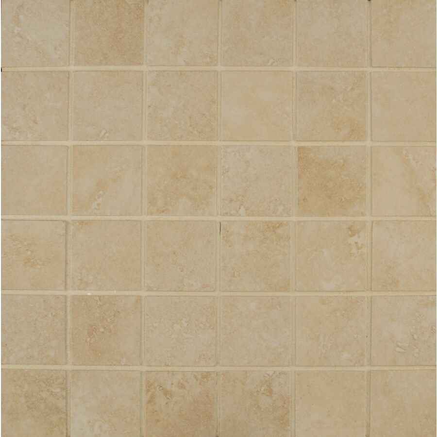 Bedrosians Roma Terra Beige Uniform Squares Mosaic Porcelain Floor Tile (Common: 13-in x 13-in; Actual: 12.93-in x 12.93-in)