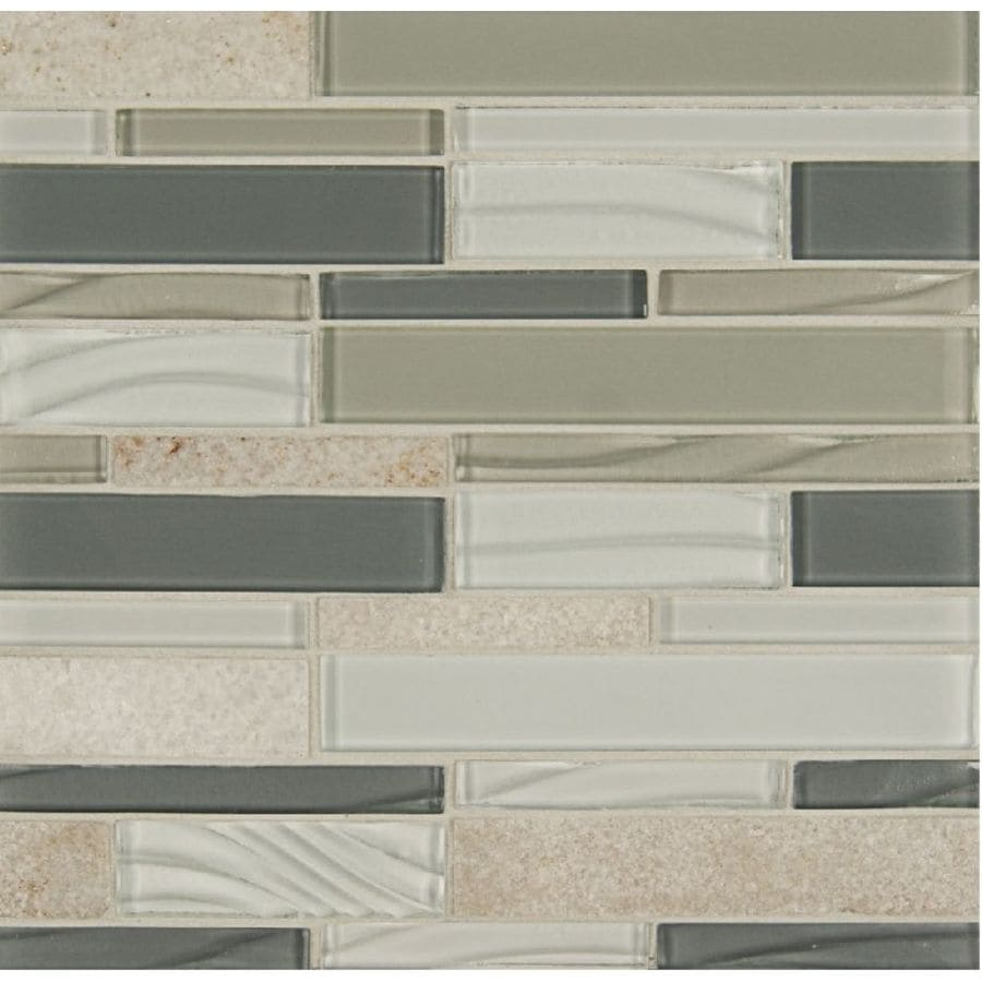 Bedrosians Intrigue Mosaics Heather Grey Subway Mosaic Glass/Metal/Stone Wall Tile (Common: 12-in x 12-in; Actual: 12-in x 12-in)