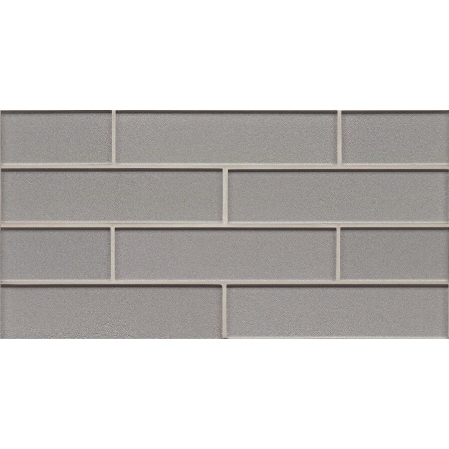 Bedrosians Manhattan Platinum Subway Mosaic Glass Wall Tile (Common: 8-in x 16-in; Actual: 8-in x 16-in)