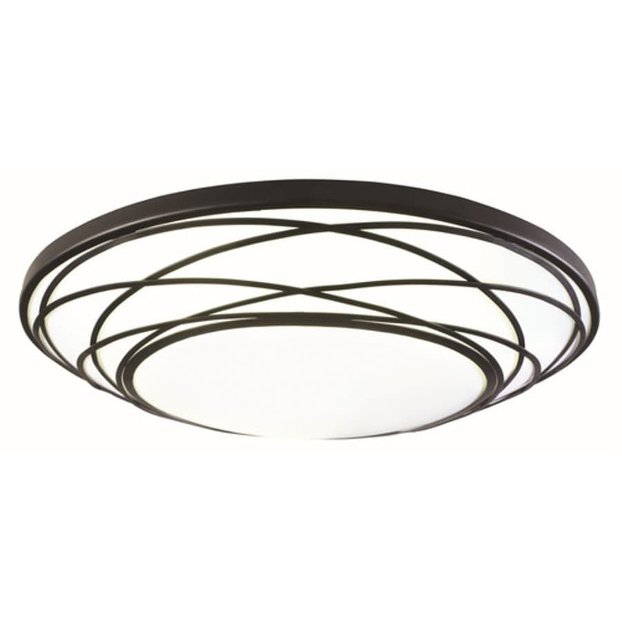 Utilitech 19.01-in W Black Ceiling Flush Mount Light