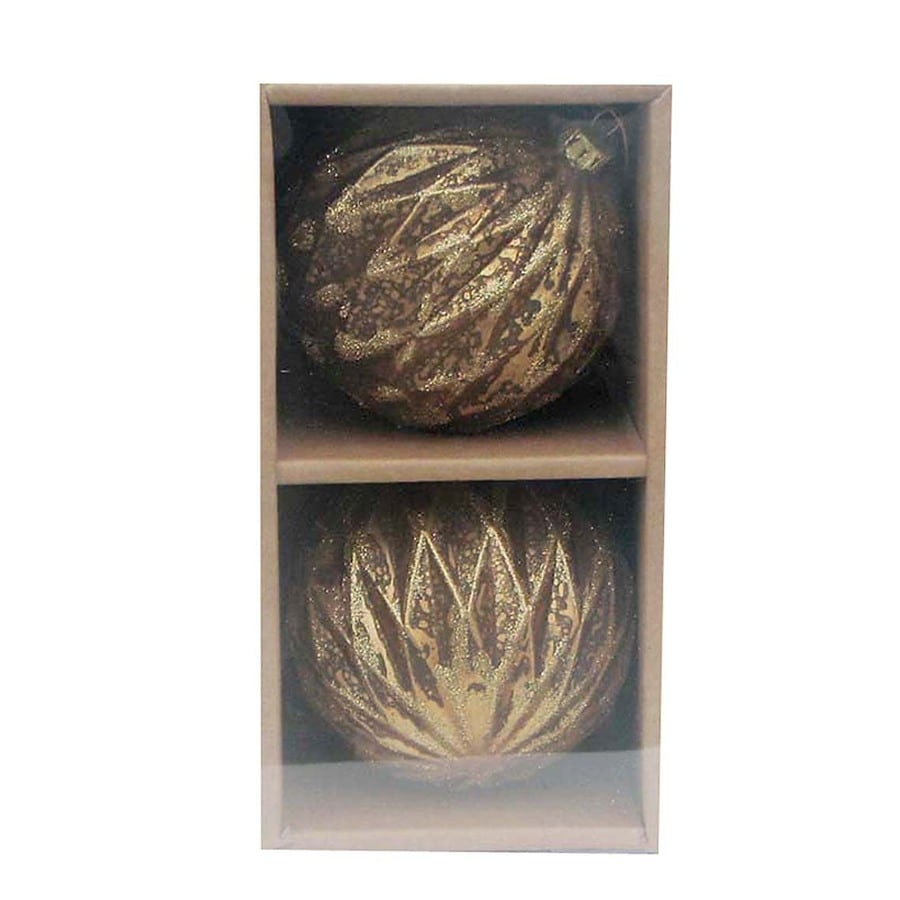 allen + roth 2-Pack Gold Glass Ornaments
