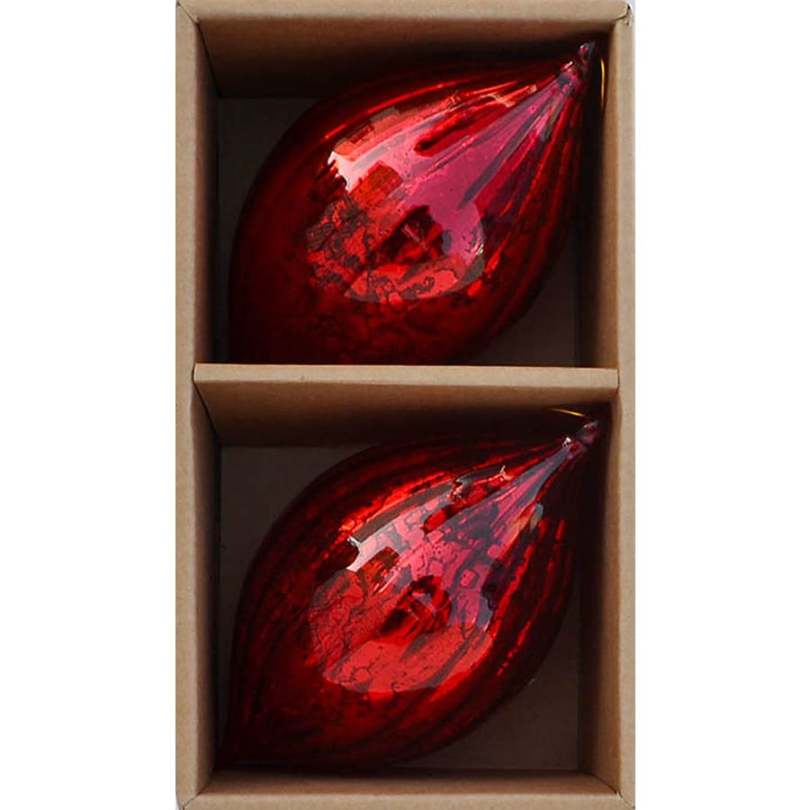allen + roth Antiqued Fluted Glass Finial Box Set (2-Pack Red)