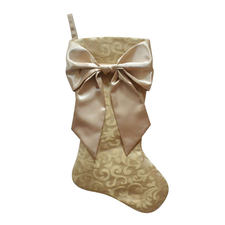 Holiday Living 21-in Gold Traditional Christmas Stocking