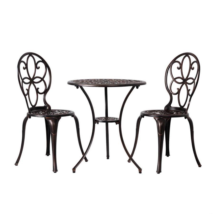 shop patio sense 3 piece cast aluminum patio dining set at