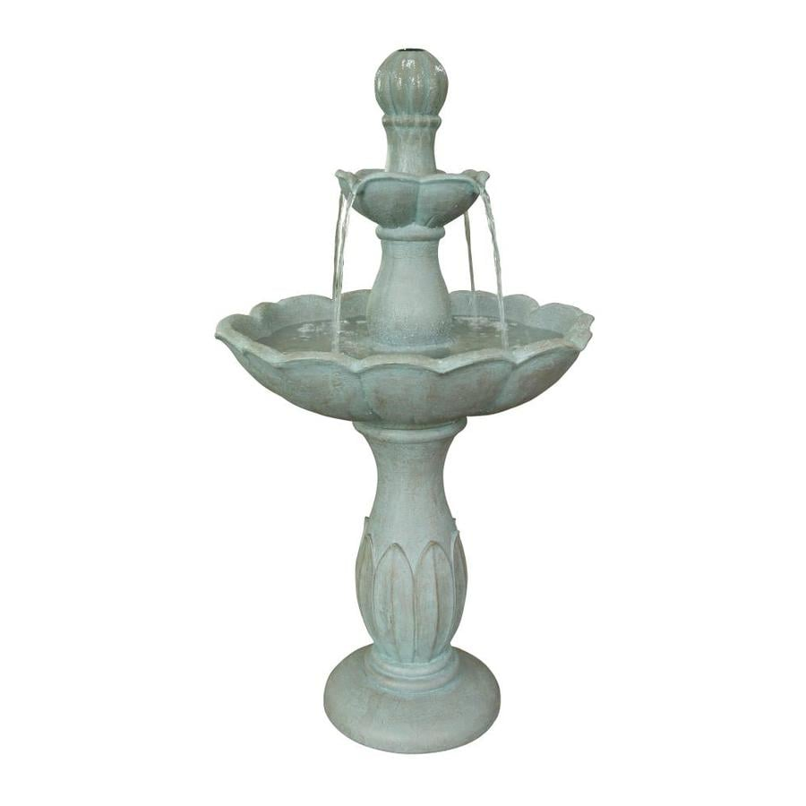 Shop garden treasures 3543 in resin tiered fountain at for Outdoor patio fountains