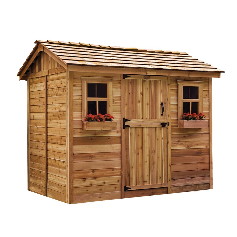 Shop outdoor living today gable cedar storage shed common for Outdoor garden shed