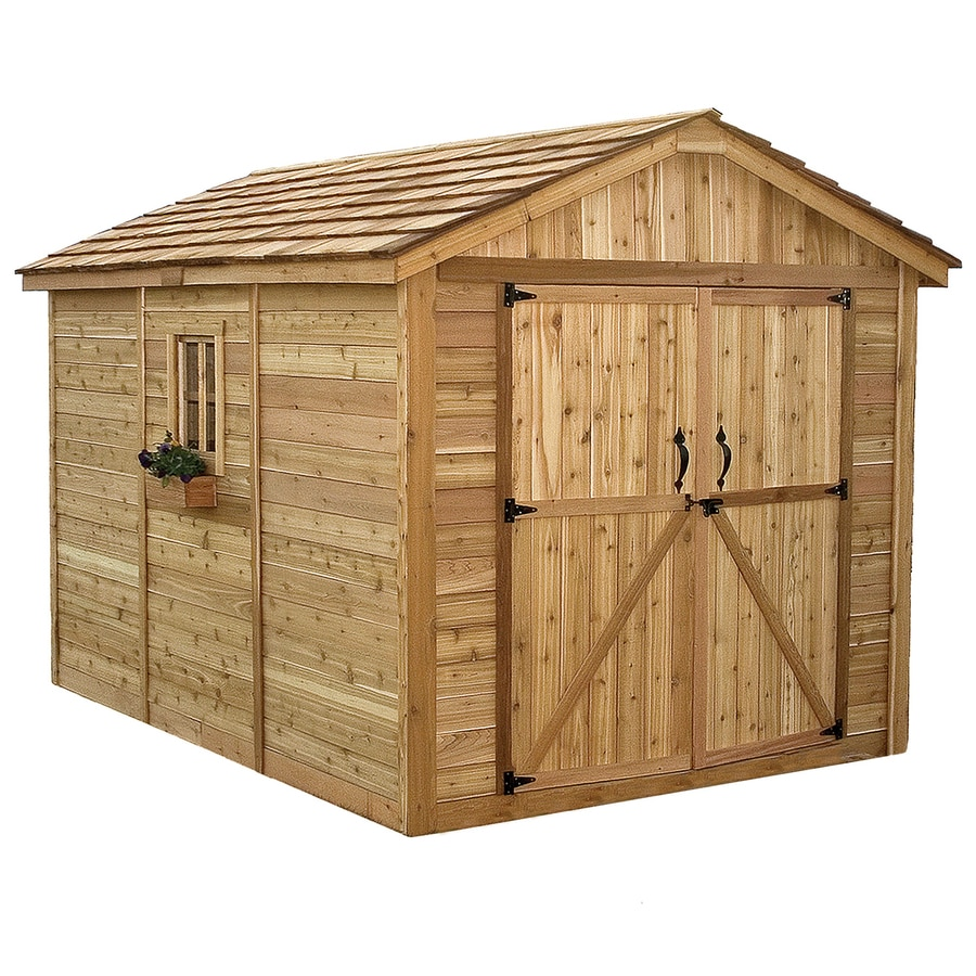 Shop outdoor living today gable cedar storage shed common for Outdoor wood shed