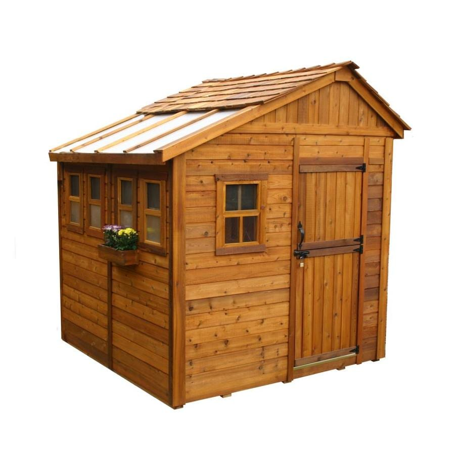 Saltbox Cedar Storage Shed (Common: 8-ft x 8-ft; Interior Dimensions: 7.85-ft x 7.57-ft) Product Photo