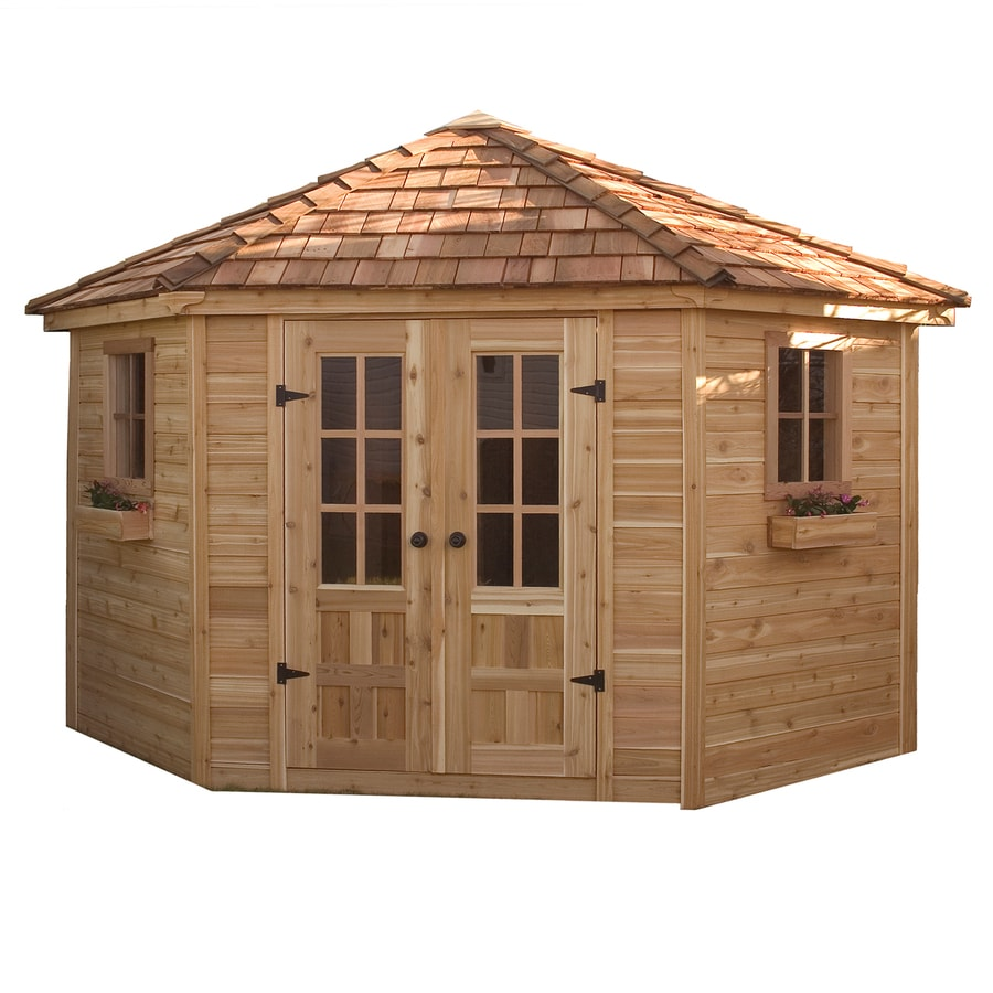 Shop outdoor living today gambrel cedar storage shed for Garden sheds and garages