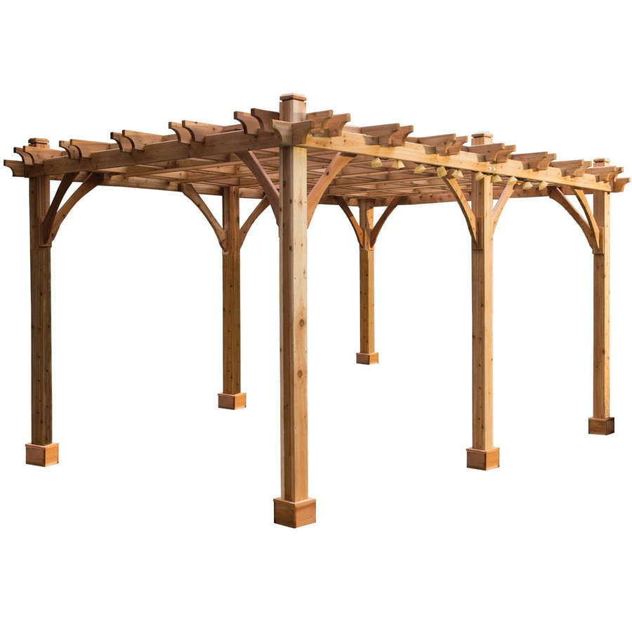 shop outdoor living today cedar freestanding pergola at lowes
