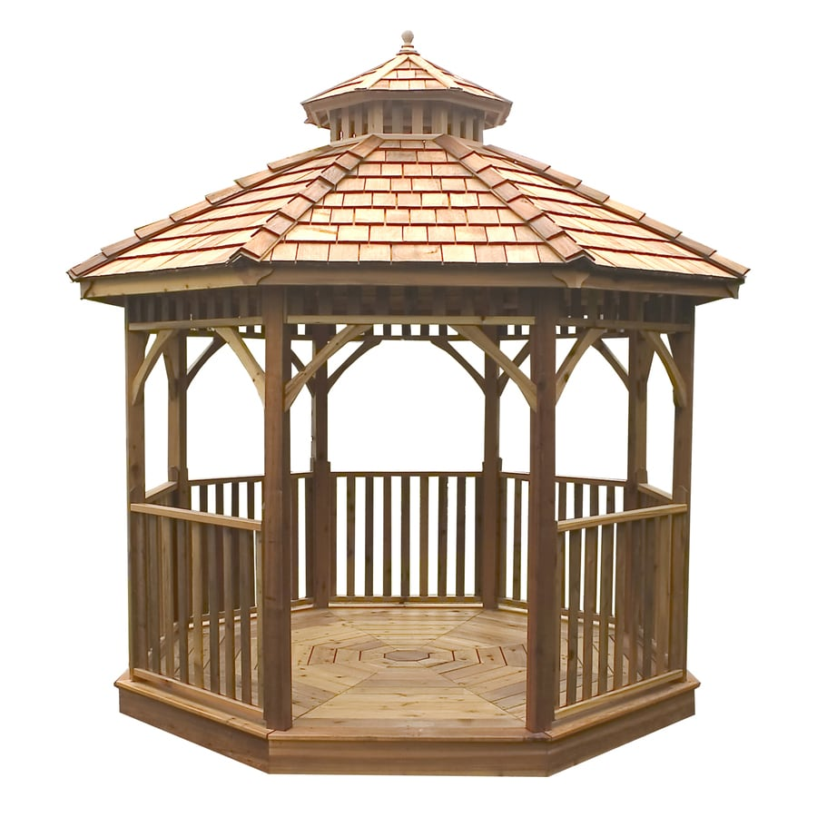 Outdoor Living Today Natural Cedar Wood Gazebo (Foundation: 14-ft x 14 ...