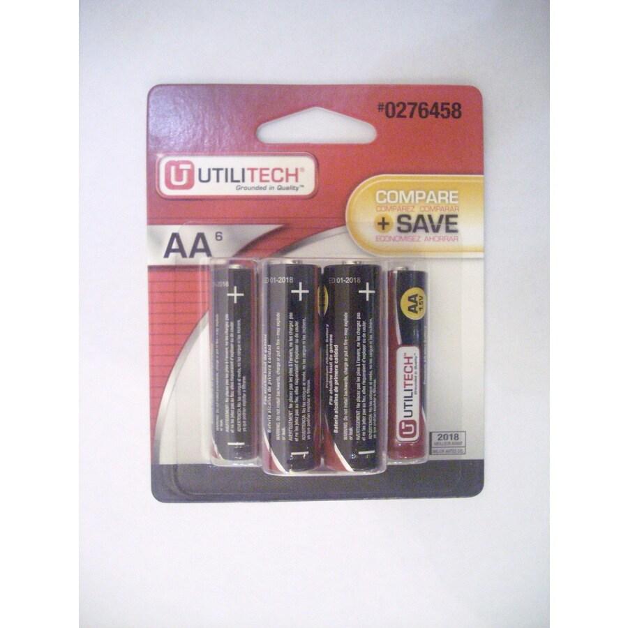 Utilitech 6-Pack AA Alkaline Batteries