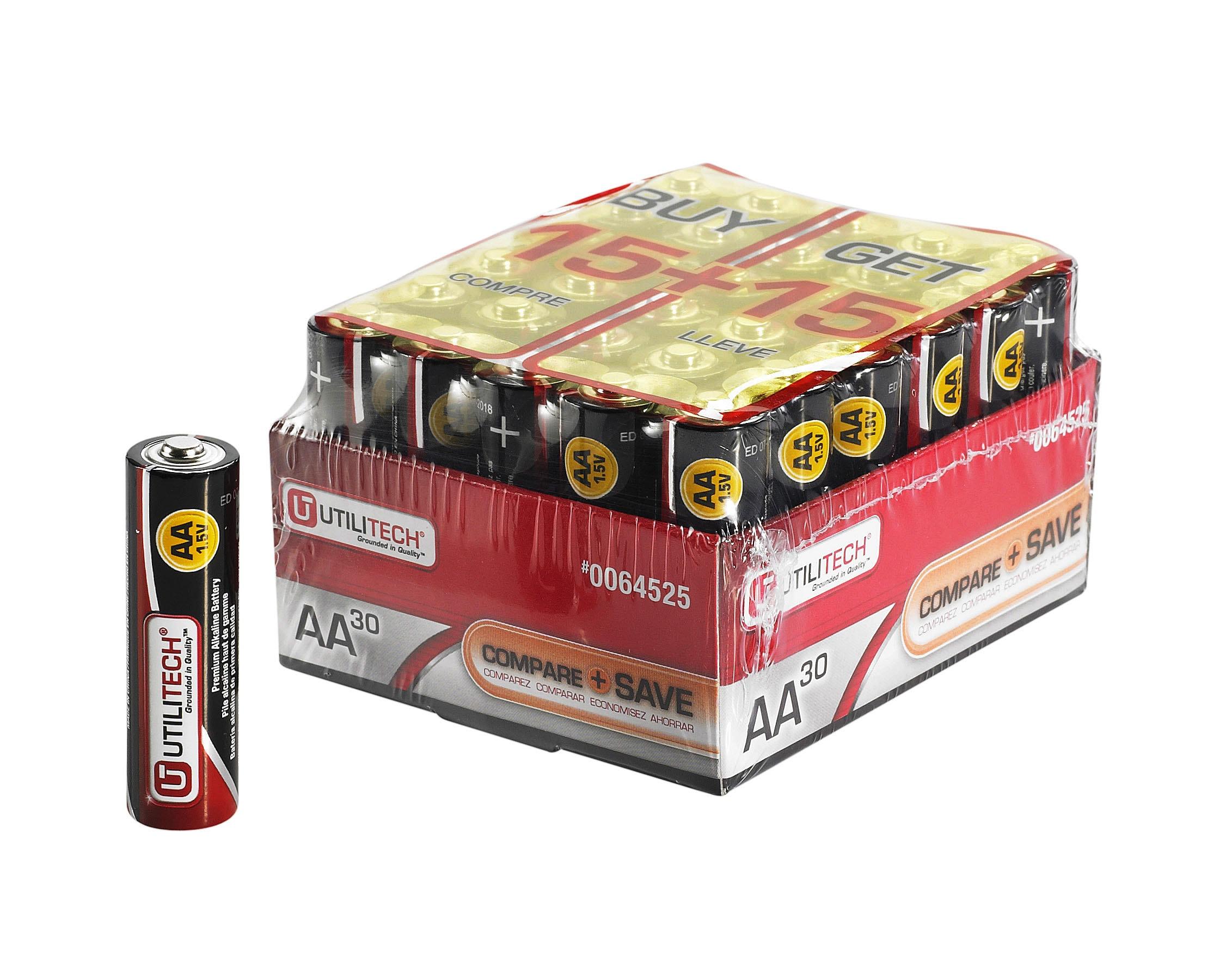 Utilitech 30-Pack AA Alkaline Batteries