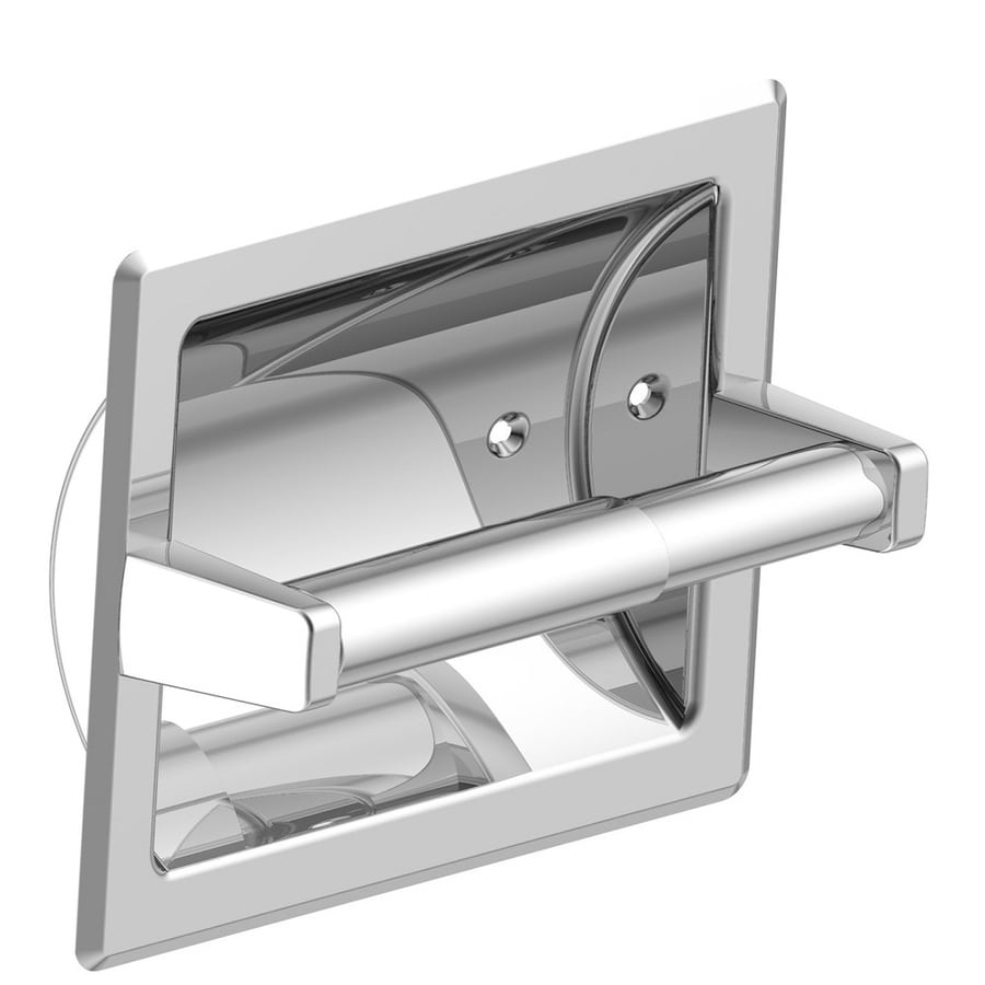 Project Source Seton Polished Chrome Recessed Spring-Loaded Toilet Paper Holder