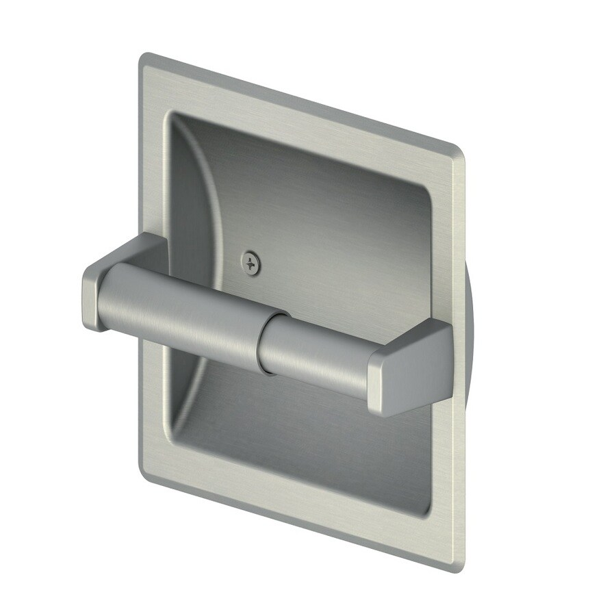 Project Source Seton Brushed Nickel Pvd Recessed Spring-Loaded Toilet Paper Holder