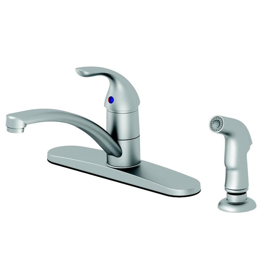 AquaSource Stainless Steel Pvd 1-Handle Low-Arc Kitchen Faucet with Side Spray