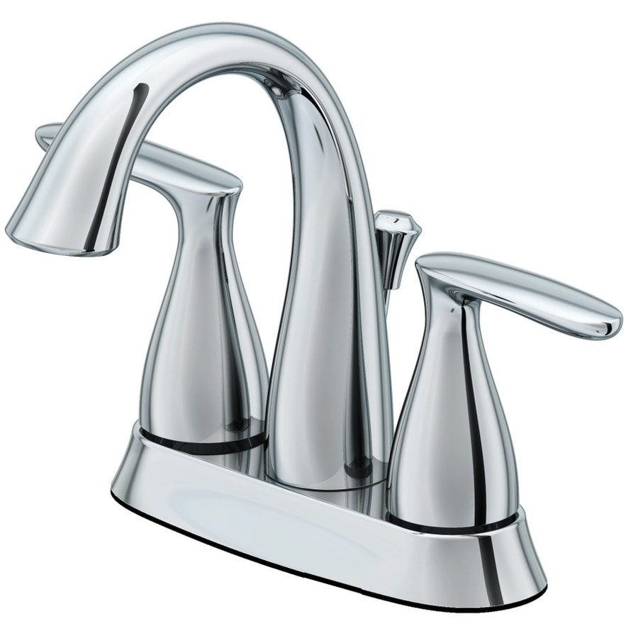 AquaSource Northridge Chrome 2-Handle 4-in Centerset WaterSense Bathroom Faucet (Drain Included)