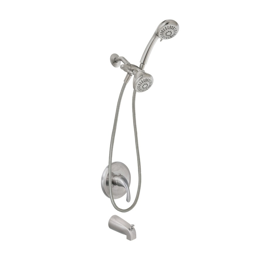 Shop AquaSource Brushed Nickel Pvd 1 Handle Bathtub And Shower Faucet With Mu