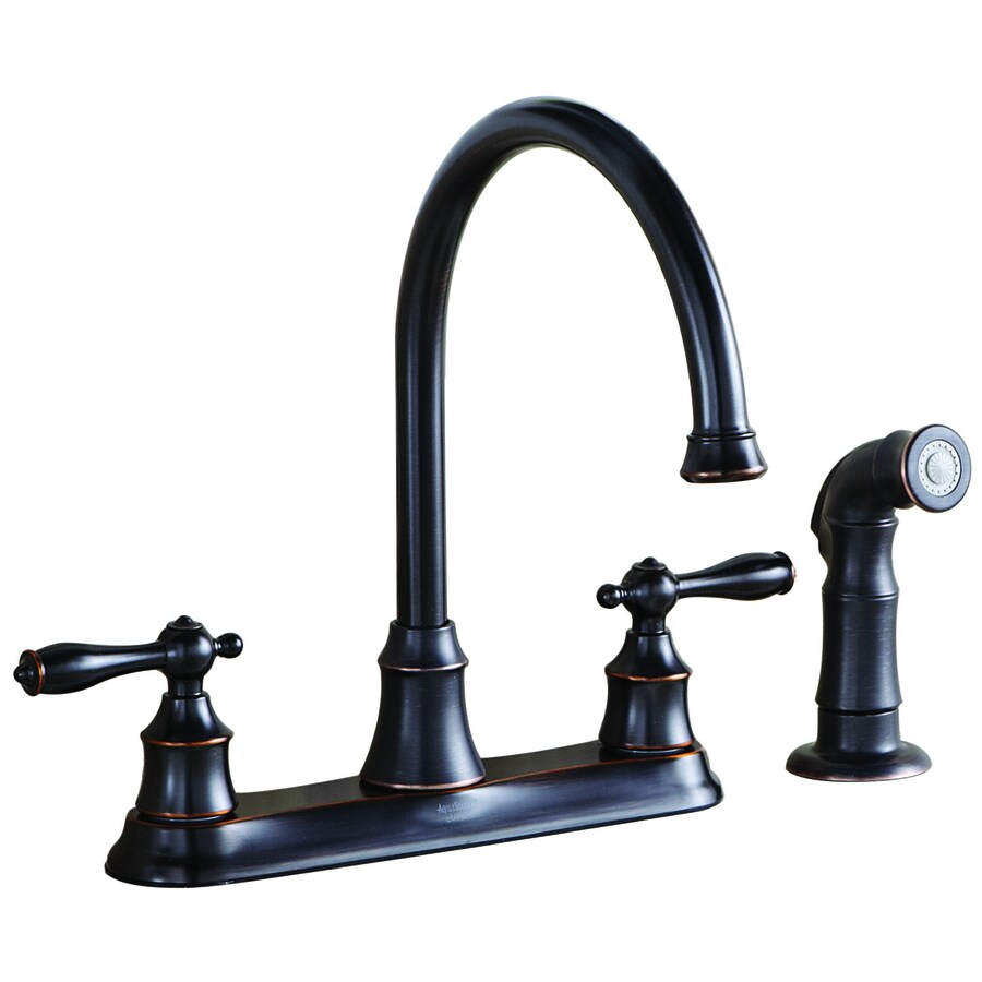 AquaSource Oil Rubbed Bronze 2-Handle High-Arc Kitchen Faucet with Side Spray