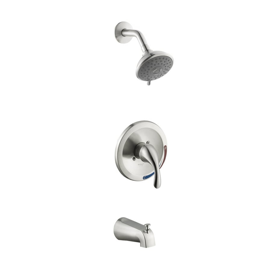 AquaSource Brushed Nickel 1-Handle Tub & Shower Faucet with Multi-Function Showerhead