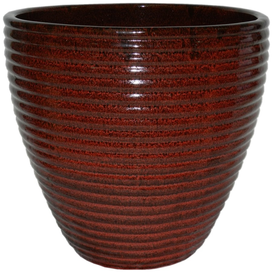 16.2-in x 15.2-in Tropic Red Ceramic Self Watering Designed with A Unique Reactive Glaze Planter