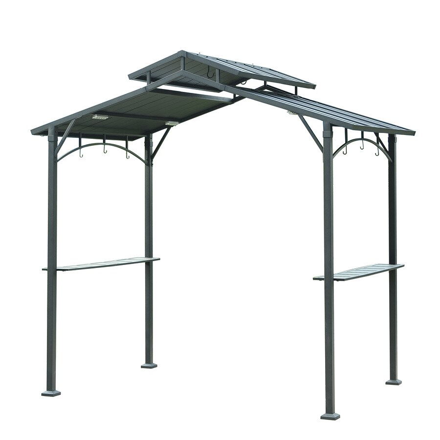 Sunjoy Brown Steel Rectangle Grill Gazebo (Exterior: 5-ft x 8-ft; Foundation: 5-ft x 8-ft)
