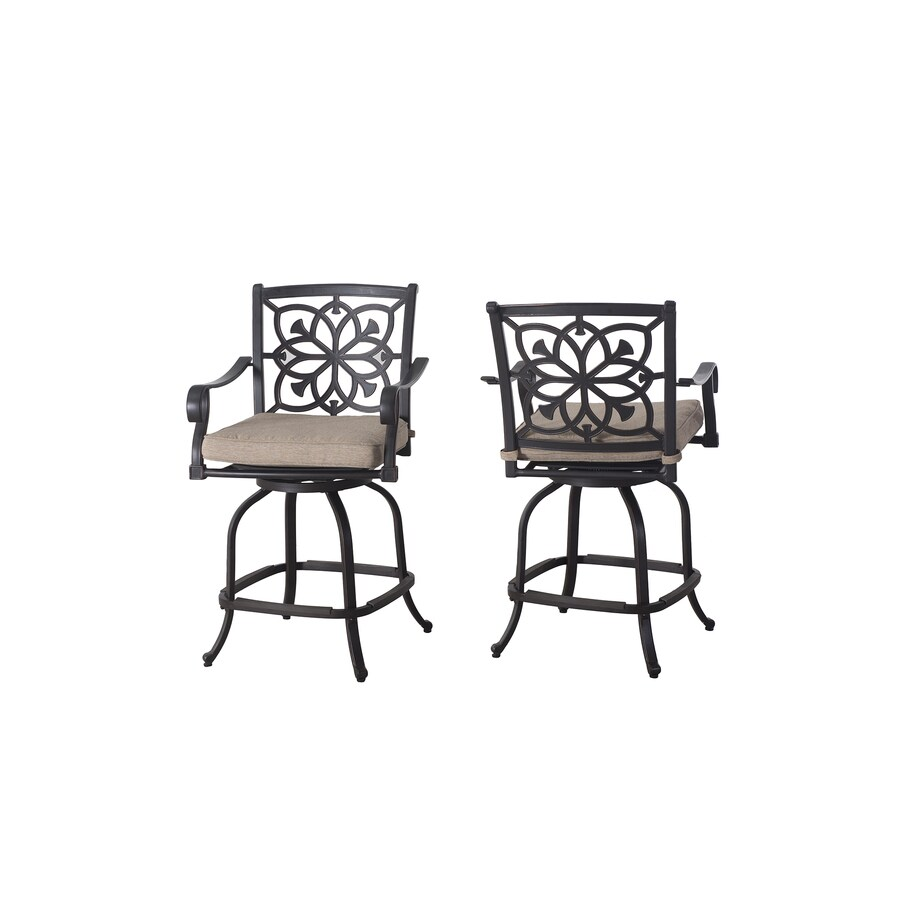 Sunjoy Ebervale 2-Count Brown with Golden Brush Aluminum Patio Dining Chair