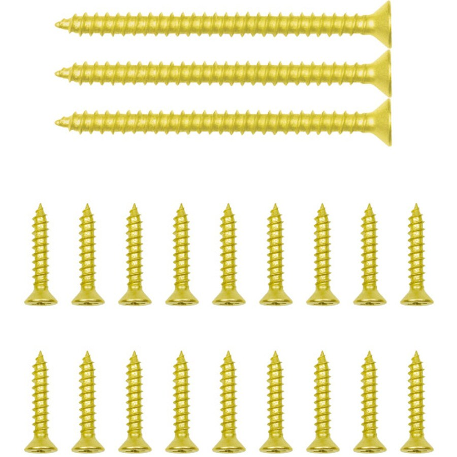 Gatehouse 18-Count #9 x 1-in Flat-Head Brass-Plated Interior Wood Screws