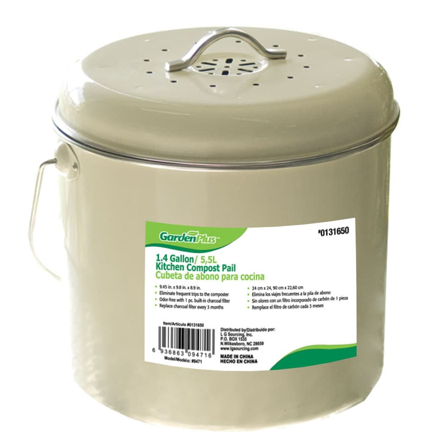 shop garden plus 1 4 gallon kitchen compost pail at lowes com