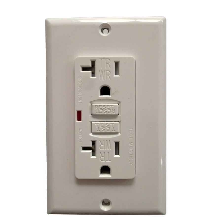 Utilitech 2-Pack 20-Amp 125-Volt White GFCI Decorator Tamper Resistant Electrical Outlet