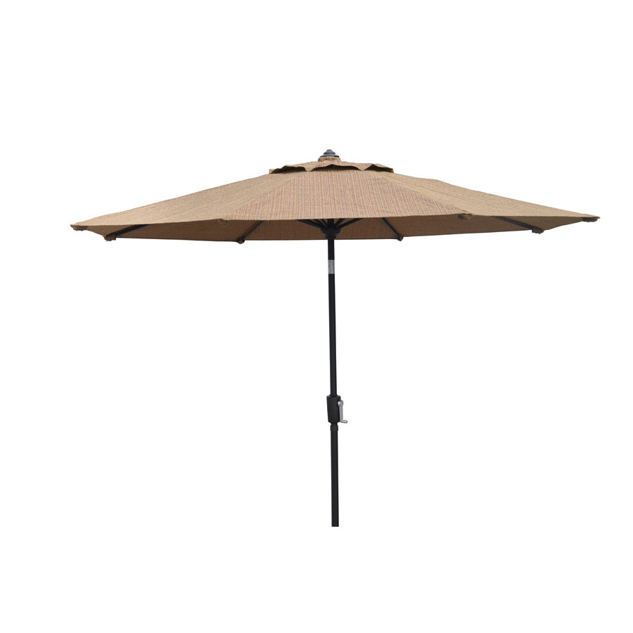 allen + roth Round Tan Patio Umbrella with Tilt-and-Crank (Common: 8.83-ft x 8.83-ft; Actual: 8.83-ft x 8.83-ft)