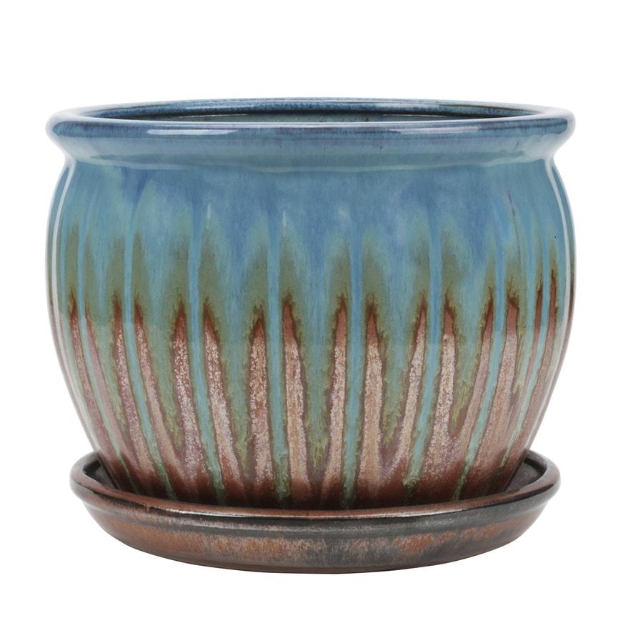 Garden Treasures 8.86-in x 7.87-in Copper Green Ceramic Planter