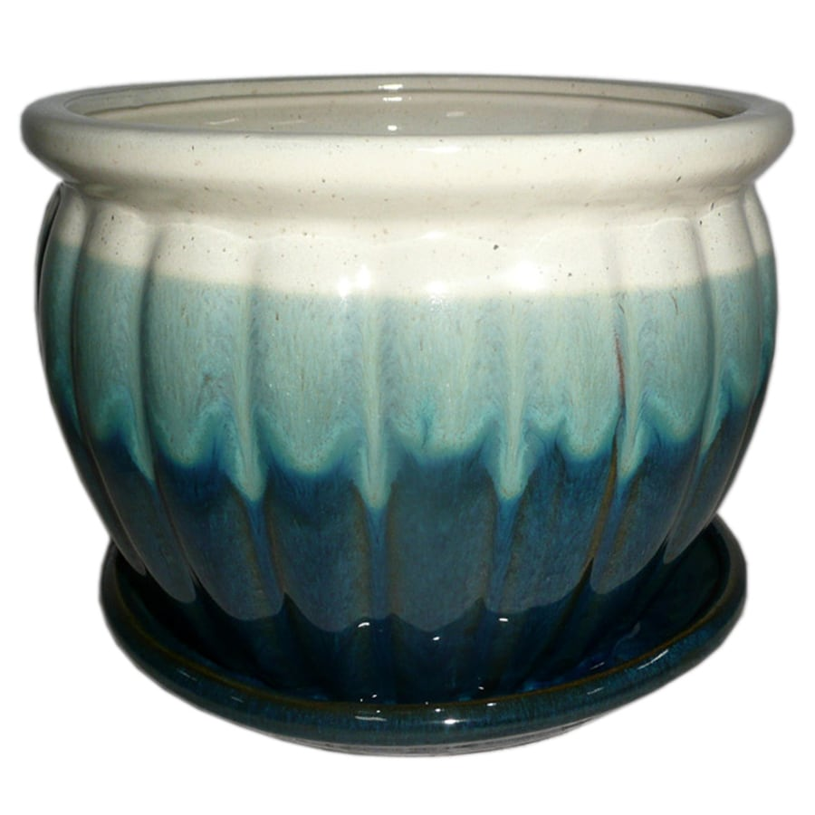 Garden Treasures 8.86-in x 7.87-in Teal Cream Ceramic Planter