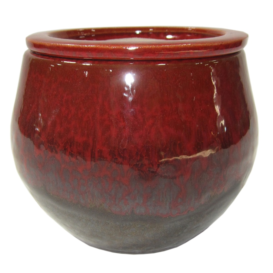 Shop garden treasures 472 in x 512 in brown red ceramic for Outdoor ceramic planters