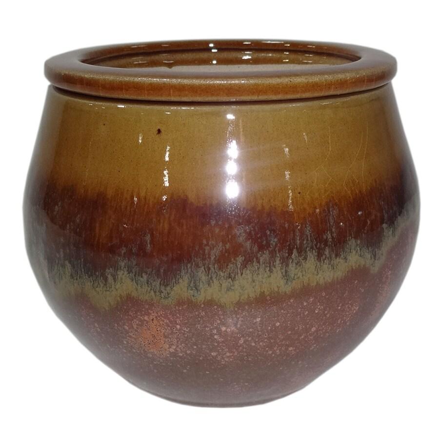 Garden Treasures 4.72-in x 5.12-in Copper Honey Ceramic Self Watering Planter