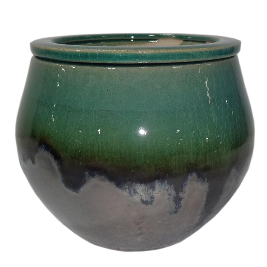 Garden Treasures 4.72-in x 5.12-in Metallic Green Ceramic Self Watering Planter