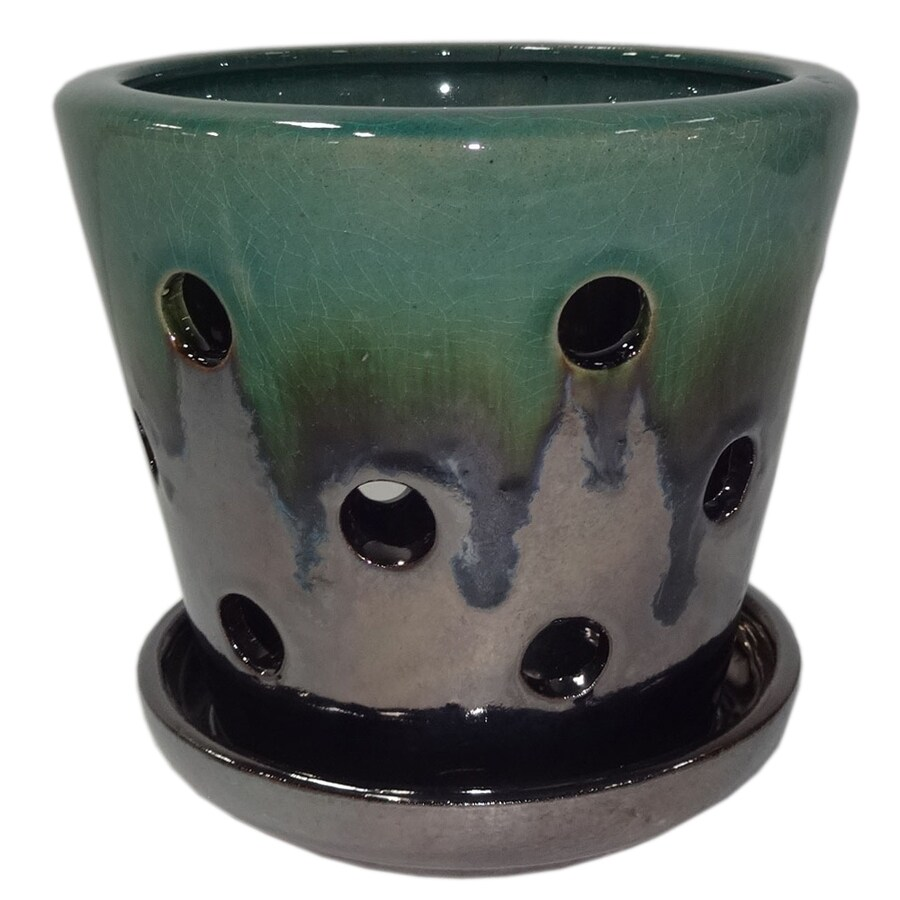 Garden Treasures 4.72-in x 5.28-in Metallic Green Ceramic Planter