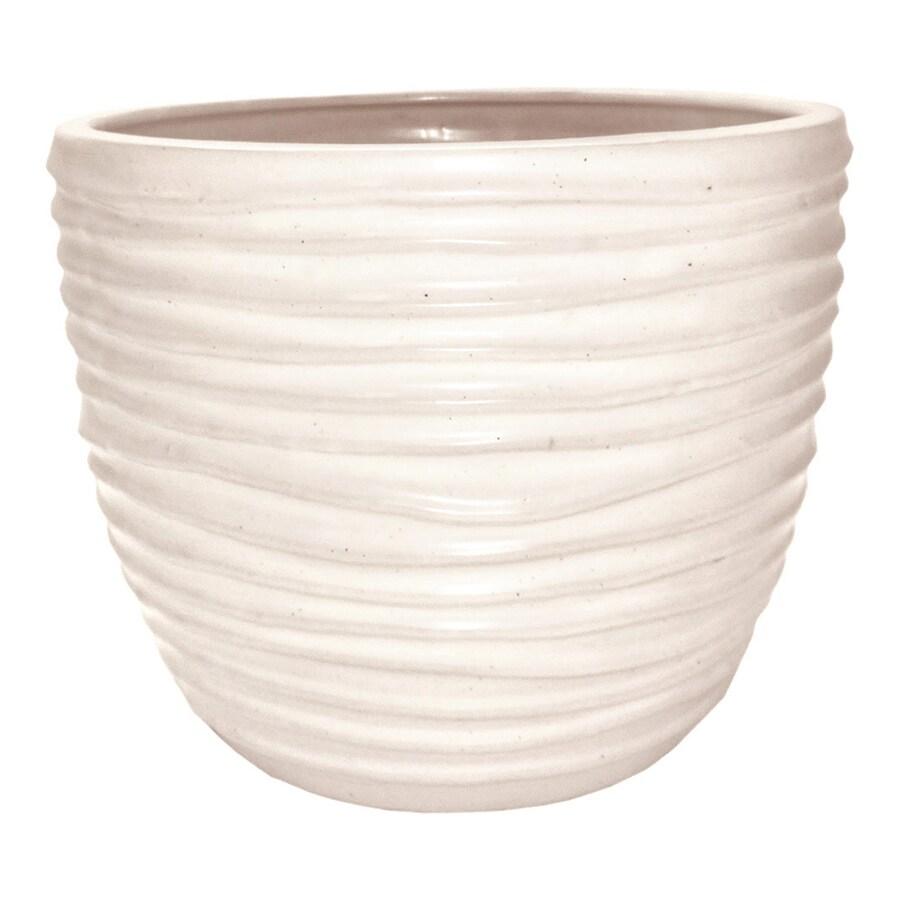 allen + roth 8.07-in x 7.48-in White Ceramic Planter
