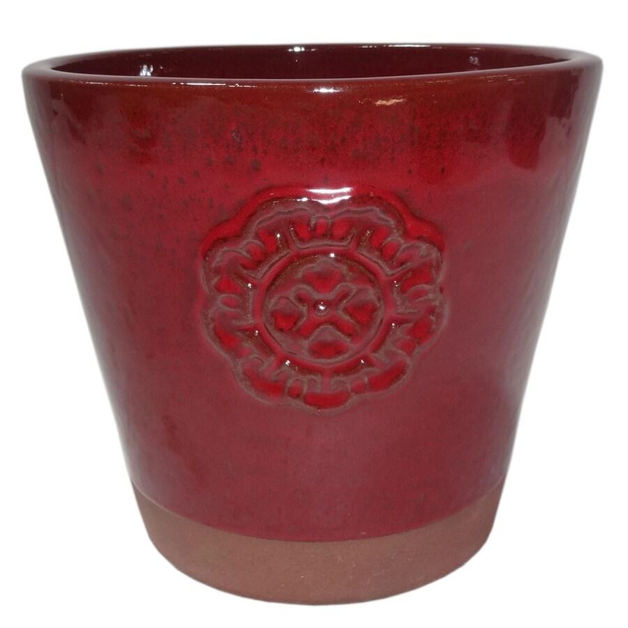 Garden Treasures 9.06-in x 9.06-in Red Ceramic Planter