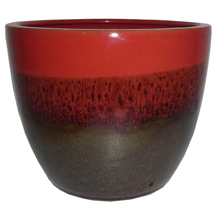 Garden Treasures 10.63-in x 9.84-in Brown Red Ceramic Planter